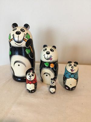 "Wood Russian Nesting Doll Pandas 5 pcs 5"" inches chewing bamboo orig $65 for Sale in Berlin, MD"