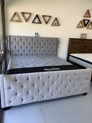 New Gray Fabric Bed Frame : Full • Queen • King • Cal King : Mattress Set Sold Separately : Box Spring Required for Sale in San Ramon, CA