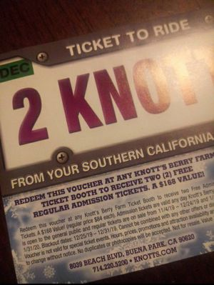 1 Voucher for 2 Knott's Tickets. for Sale in City of Industry, CA