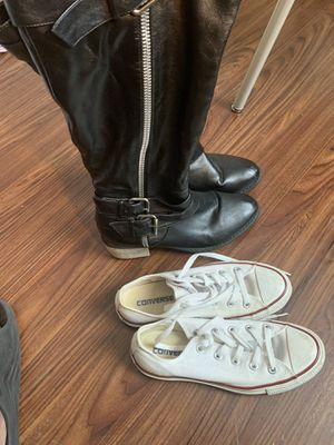 Long Boots and Converse Size M-4/W-6 for Sale in Lancaster, PA
