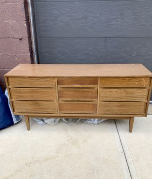 Pick up today vintage Mid century modern Kroehler Walnut 9 Drawer Long Dresser w/laminate top or use as sink vanity! for Sale in Monroeville, PA