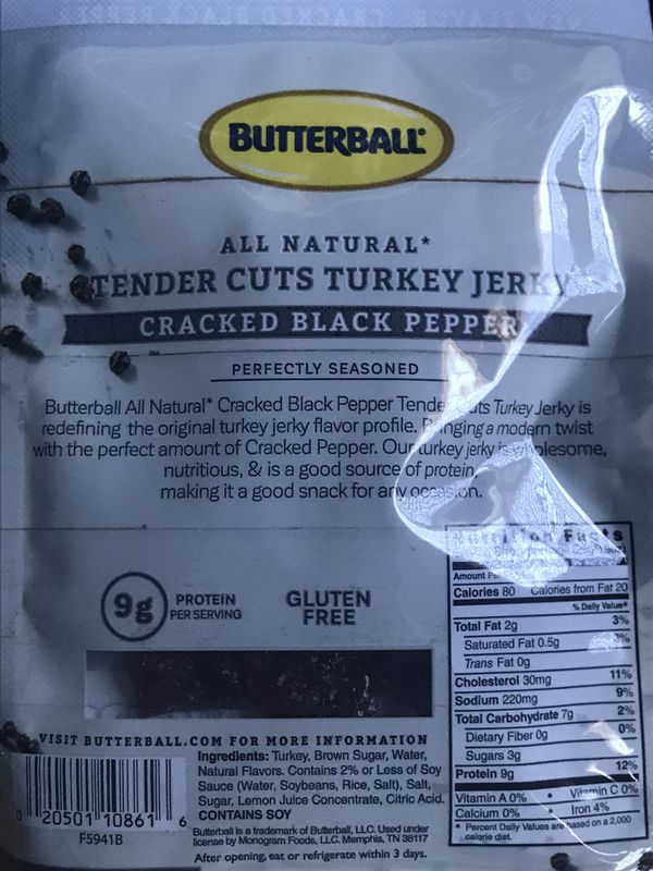(3) Pack - Butterball Tender Cuts Cracked Black Pepper Turkey Jerky 0.9 oz