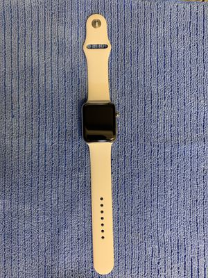 Apple Watch Series 3 with GPS + Cellular, 42mm Stainless Steel with Soft White Sport Band for Sale in Houston, TX