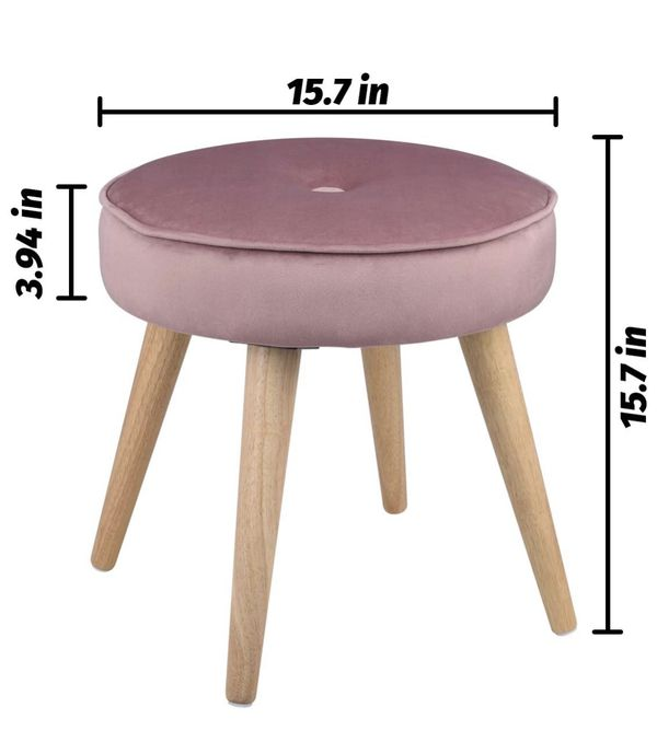 Ottoman Stool Velvet Side Table Seat, Makeup Dressing Stool with Wooden Legs for Living Room, Bedroom, Small Space Room, Office (Pink)