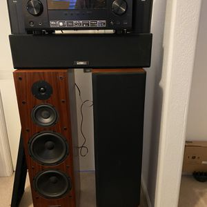 Cambridge Soundworks Tower Speakers With Center Speaker Pioneer Receiver And Boston Rear Surround Speakers for Sale in Scottsdale, AZ
