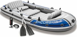 Intex Excursion 5 Inflatable Boat set with Aluminum oars and Pump for Sale in Folsom, CA
