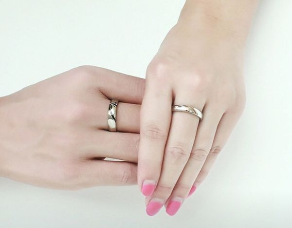Couple's Matching Heart Ring, REAL Love His and Hers Wedding Band Promise Ring
