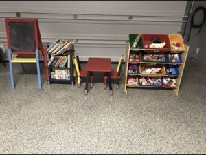 Kids furniture set, table set, book case, toy storage and chalk board, toys and books included for Sale in Plano, TX