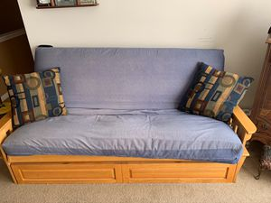 Honey glazed colored futons with denim covers for Sale in Raleigh, NC