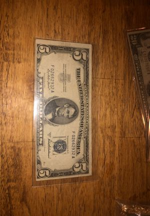 Series A-1953. 5$ Silver certificate Note for Sale in Kirksville, MO