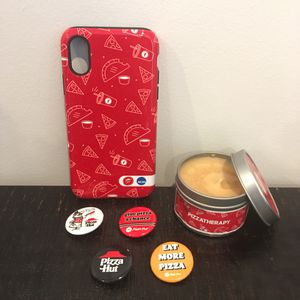 Pizza Hut Pizzatherapy Candle, IPhone X/XS Case, and four buttons bundle for Sale in Covina, CA