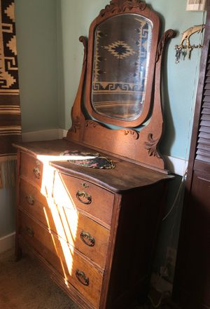 Antique serpentine drawers hand carved dresser for Sale in Huntington Beach, CA