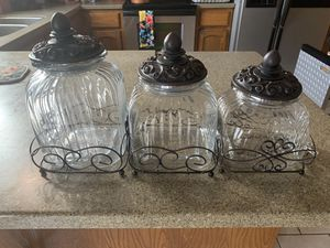 Set of three glass canisters excellent condition $20.00 for Sale in Rogers, AR