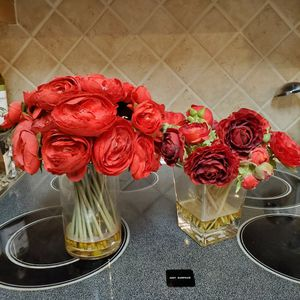 Faux flowers in vases, table decor. Red roses and ranunculus for Sale in Fort Walton Beach, FL