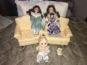 Porcelain Dolls with Matching Sofa Chairs, Beautiful Addition for Doll House Set for Sale in Miami, FL