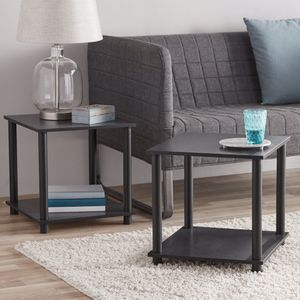 Set of 2 End Tables Living Room Night Stand Storage Black for Sale in Slidell, LA