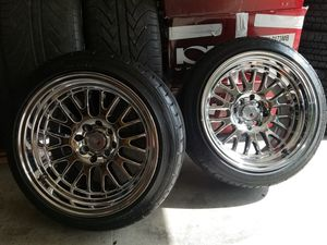 15x8 - 4x100 rims, wheels and new tires! $600 or TRADE for different 4 lug set! for Sale in Seattle, WA
