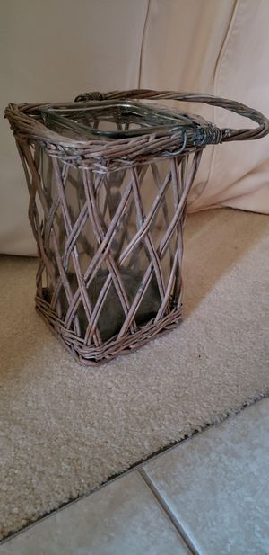 Glass Wicker Lantern Candle Holder Rustic for Sale in Barnegat Township, NJ