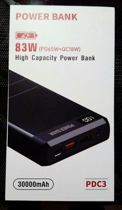 30000 mAh 83W PD 3.0 USB C Beast Power Bank, 4 Ports High-Capacity External Battery. for Sale in Laguna Hills,  CA