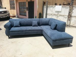 NEW 9X7FT ANNAPOLIS STEEL BLUE FABRIC SECTIONAL CHAISE for Sale in Fontana, CA