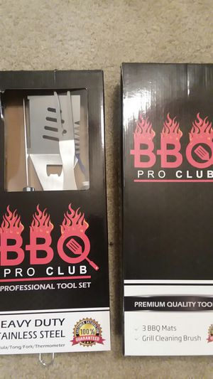 Brand new in boxes: Professional 4-piece BBQ Tool set & Heavy duty grill brush with 3 heat-resistant, non-stick grill mats for Sale in Renton, WA