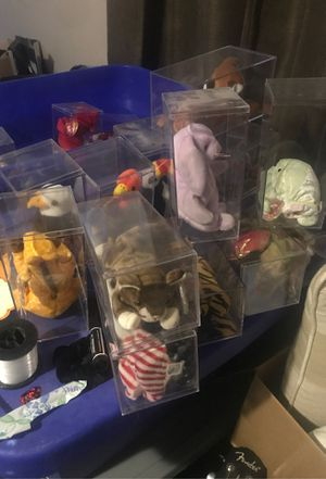 Four storage bins full of PE pellet beani babies for Sale in Las Vegas, NV