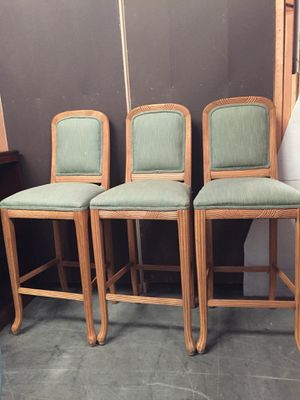 Bar stool with beautiful green upholstery for Sale in Sebring, FL