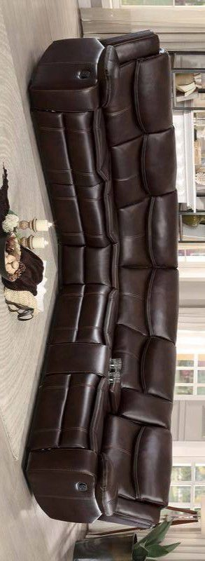 Bastrop brown leather gel match reclining sectional sofa for Sale in Houston, TX