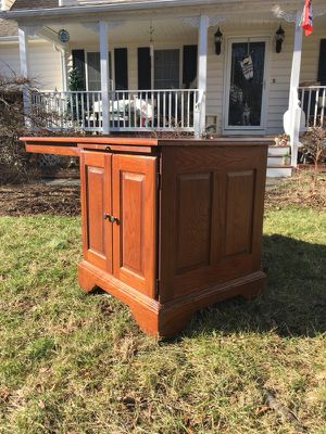 Solid wood desk with cabinet and pull out shelf for Sale in Henrico, VA