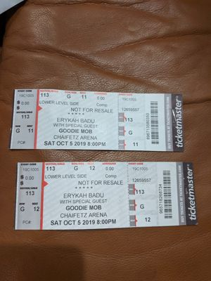 2 Erykah Badu and Goodie Mob Tix $85 ea Must sell together for Sale in St. Louis, MO
