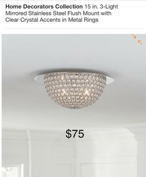 """Home Decorators 15"""" 3 light mirrored flush mount with crystals for Sale in Bell Canyon, CA"""