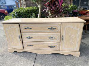 Light Wood Wooden Dresser Storage Chest with Carved Leaf Vine Design for Sale in Orlando, FL