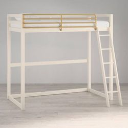 Little Seeds Monarch Hill Haven Twin Metal Loft Bed NIB (White & Gold) for Sale in Las Vegas,  NV