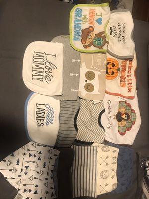 Bibs, blankets, burp cloth and robe for Sale in West Covina, CA