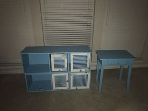 Two bookshelves with doors for stuffed pets. Small desk. for Sale in Carrollton, TX