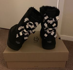 100% Authentic Brand New in Box UGG Bailey Bow II Leopard Boots / Women size 5 (Big kids 3) and Women size 6 (Big Kids 4) / Color: Black for Sale in Walnut Creek, CA