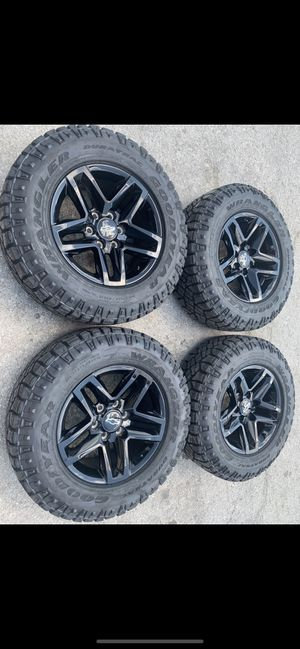 New black Trail Boss Chevy Rims and Goodyear All Terrain tires 100% tread! 6 Lug Wheels Take offs off 18s takeoffs pull 20s pulloffs stock stocks fac for Sale in Dallas, TX