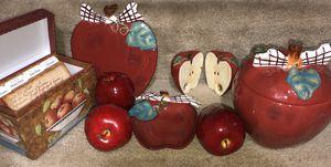 Apple Kitchen Decor Ceramic Set from Hallmark- Cookie Jar + Salt/Pepper Shakers+ Plate + Bowl + Recipe Box + 3 Plastic Fruit for Sale in Manassas, VA