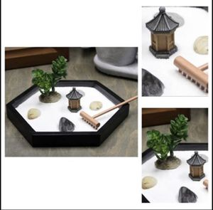 NEW Mini Meditation Zen Garden, 7 x 6 Inches Hexagon with Figures and Natural River Rocks for Sale in Lewisville, TX