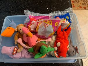 Mini beanie babies. Total of 12. Includes container for Sale in Vista, CA