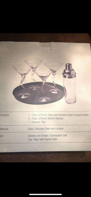 Free Glass Martini set w/Tray for Sale in Abingdon, MD