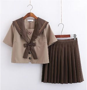 Japanese JK uniform skirt milk tea brown sailor suit student suit class suit for Sale in Bradenton, FL