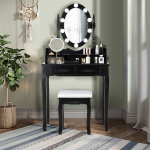 Costway Vanity Table Table 10 Dimmable Bulbs Black White Brown for Sale in Irvine, CA
