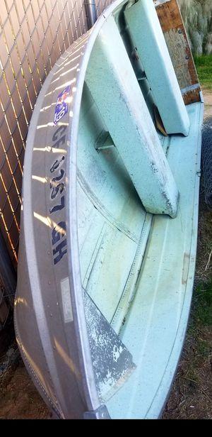 12ft aluminum fishing boat title in hand registered v hull no john boat lake TRADE for dirtbike or atv quad 2 4 stroke honda Kawasaki polaris suzuki for Sale in Fontana, CA
