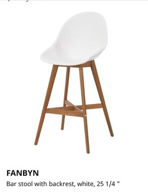 2 Ikea Bar Stools with Back Rest and solid wood legs for Sale in Seattle, WA