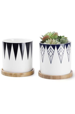 Greenaholics Plant Pots - 4.3 Inch Cylinder Ceramic Planter for Cactus, Succulent Planting, with Bamboo Trays, Set of 2, Inverted Triangle for Sale in Piscataway Township, NJ