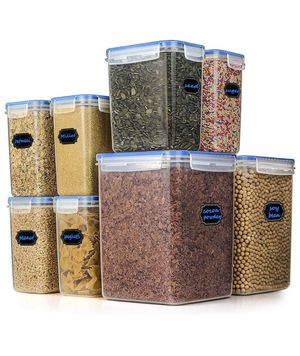 Food Storage Containers - Hangoes Cereal & Dry Airtight Plastic Containers, Set of 8 Kitchen Containers 177.7 Oz/ 54.7 Oz with 1 Measuring Cup & 20 C for Sale in Pomona, CA