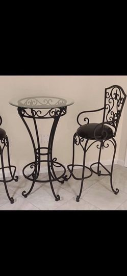 Black Pub/Bar Iron and Glass Table Stool Set for Sale in Fort Washington,  MD