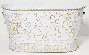 White Gold Ornate Scroll Vintage Style Metal Containers for Sale in Kent, WA