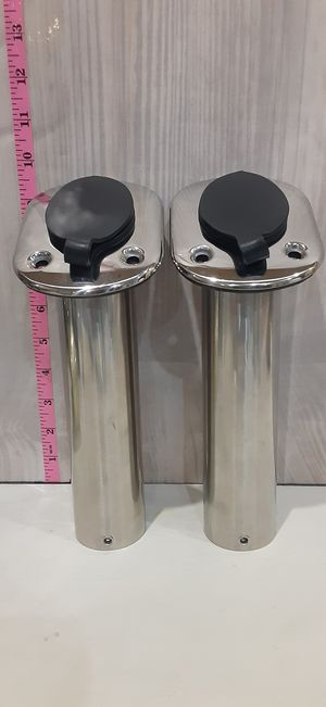 2 CHROME BOAT FISHING ROD HOLDER FLUSH MOUNTED WITH CAPS INSIDE PLASTIC COATED for Sale in Santa Clarita, CA